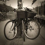 Bicycles with straw basket Royalty Free Stock Images