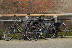 Bicycles on street amsterdam holland Royalty Free Stock Photography