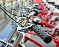 Bicycles on the street closeup Stock Photos