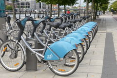 Bicycles on the street. Bicycles in Dublin on the road. Healthy sport life Royalty Free Stock Images
