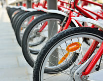 Bicycles on the street Stock Photos