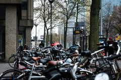Bicycles on the street in Rotterdam, Netherlands royalty free stock photos