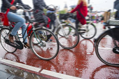 Bicycles on the streets of the city. Bike traffic on bicycle paths in a densely populated city Royalty Free Stock Photography