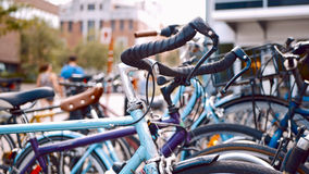 Bicycles in the streets of Montreal. Canada Stock Photos