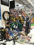 Bicycles in the supermarket. Carrefour hanging vertically Stock Image