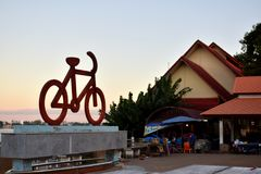 Bicycles - the symbol of fitness. Bicycle memorial symbol of fitness On the banks of the Mekong River Nakhon Phanom Province Royalty Free Stock Image