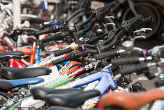 Bicycles. There are bicycles in the parking lot. To illustrate articles Royalty Free Stock Photography