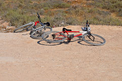 Bicycles Thrown On The Ground Royalty Free Stock Photo