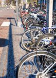 Bicycles tied side by side stock photo