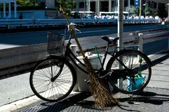 Bicycles in Tokyo, Japan. Tokyo has many bicycles since the land is pretty flat. Many Japanese people ride bicycles as a transport.  Royalty Free Stock Image