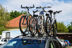 Bicycles on the top of a car Stock Photo