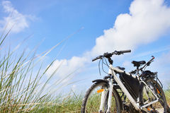Bicycles tourists traveling in nature on sunny day Stock Image