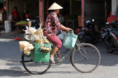 Bicycles. Traders use bicycles to transport merchandise in the city of Solo, Central Java, Indonesia Royalty Free Stock Images