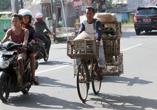 Bicycles. Traders use bicycles to transport merchandise in the city of Solo, Central Java, Indonesia Stock Photo
