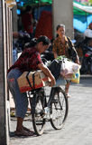 Bicycles. Traders use bicycles to transport merchandise in the city of Solo, Central Java, Indonesia Royalty Free Stock Photography