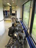 Bicycles on the train Stock Image