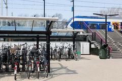 Bicycles at the train station Royalty Free Stock Image