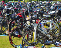 Bicycles at triathlon  change over station Stock Photography