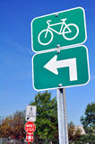 Bicycles turn left sign Royalty Free Stock Photo