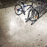Bicycles under the rain Royalty Free Stock Photo