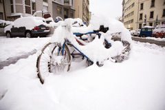 Bicycles under snow Stock Photos