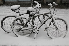Bicycles under snow during massive Winter Storm Thor Royalty Free Stock Photos