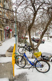 Bicycles under snow in the winter Pomorie, Bulgaria stock photos