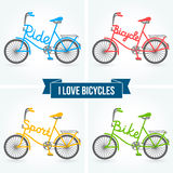 Bicycles. Vector illustration. Sport signs and symbols. Different forms of bike frames Stock Images