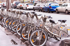 Bicycles. Velib bike rental service in Paris. France. Stock Photography