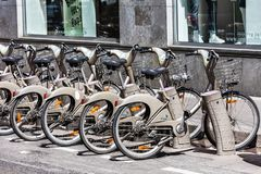 Bicycles of the Velib bike rental service. Paris, France. Paris, France - June 16, 2017: Some bicycles of the Velib bike rental service. With the bicing sharing stock photo