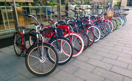 Bicycles vintage. Built in a harmonous row Stock Photo