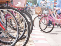 Bicycles. The wheels of bicycles lined up differently Stock Image