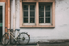 Bicycles. Window from Heidelberg, in Germany Royalty Free Stock Photography