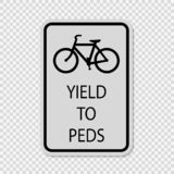 symbol Bicycles Yield to Pedestrians Sign on transparent background stock illustration