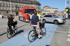 BICYCLEST DANESE A COPENHAGHEN DANIMARCA fotografie stock libere da diritti