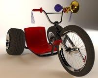 Bicyclette à trois roues sur un fond blanc Images libres de droits