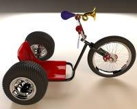 Bicyclette à trois roues sur un fond blanc Photo stock