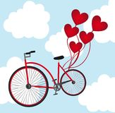 Bicyclette avec des ballons illustration stock