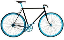 Bicyclette bleue élégante d'isolement sur le blanc photographie stock libre de droits