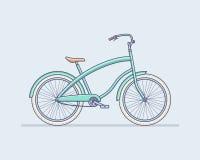 Bicyclette bleue mignonne avec des roues, pédales Photographie stock libre de droits