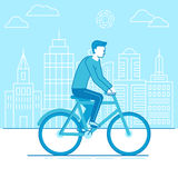 Bicyclette d'équitation d'homme Photos libres de droits