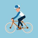 Bicyclette d'équitation d'homme, conception de personnages illustration libre de droits