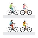 Bicyclette d'équitation d'homme et de femme Photographie stock