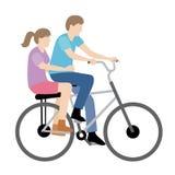 Bicyclette d'équitation de couples Images libres de droits