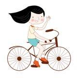 Bicyclette d'équitation de femme illustration libre de droits