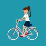 Bicyclette d'équitation de femme, conception de personnages illustration stock