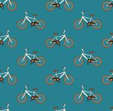 Bicyclette de Brown de vintage sans couture sur Teal Background bleu Illustration de vecteur Images stock