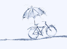 Bicyclette de l'eau bleue avec le parapluie photo stock