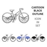 Bicyclette de marche avec de grands boucliers et l'entraînement de courbes Transport économique Icône simple de bicyclette différ illustration stock