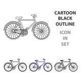 Bicyclette de marche avec de grands boucliers et l'entraînement de courbes Transport économique Icône simple de bicyclette différ illustration libre de droits